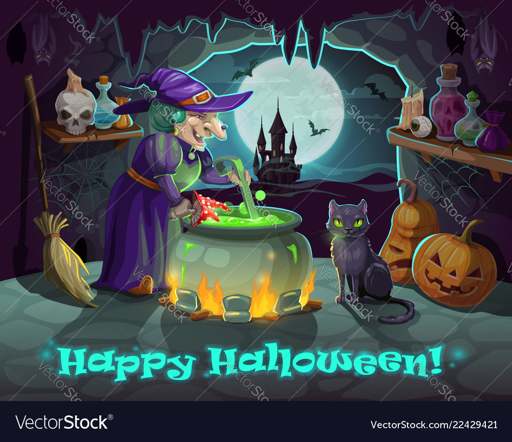 Halloween witch pumpkin and potion cauldron