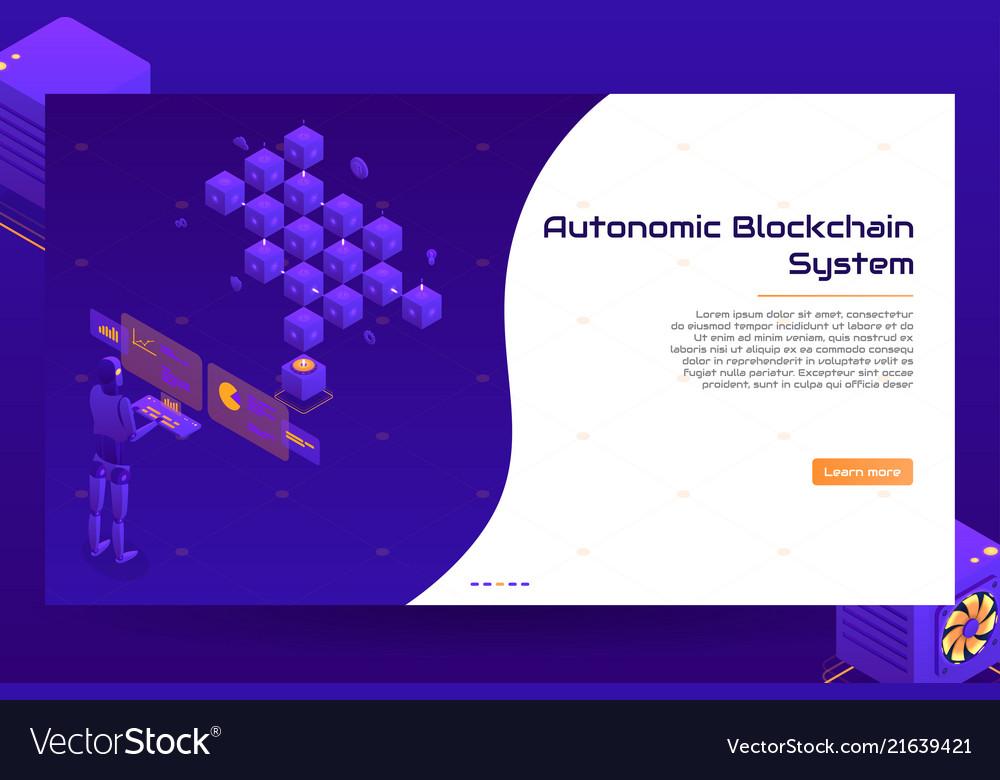 Isometric blockchain technology banner concept