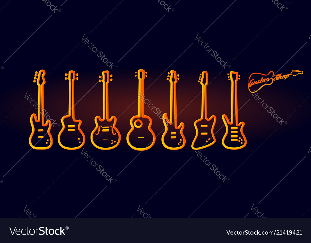 Musical instruments neon tubed silhouette