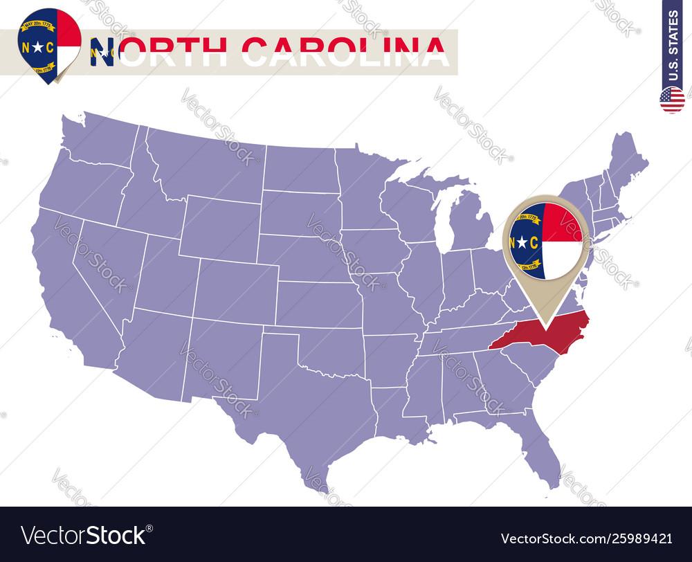 North carolina state on usa map north carolina