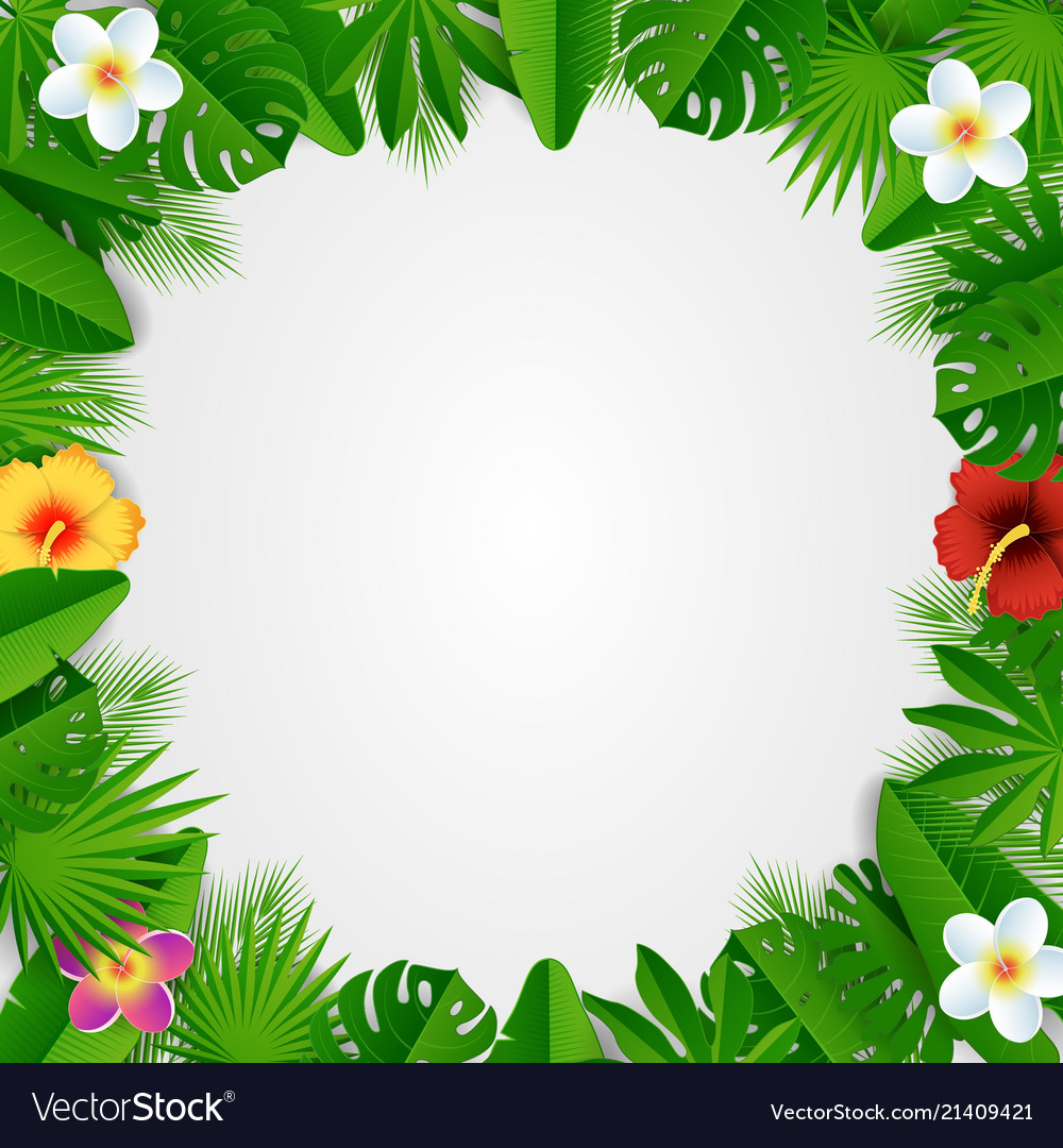 Paper cut tropical floral frame
