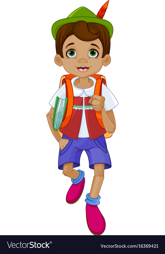 Pinocchio going to school vector image