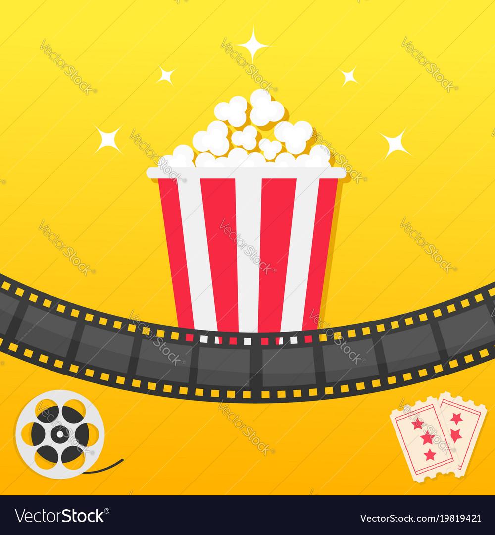 Popcorn box film strip two tickets admit one