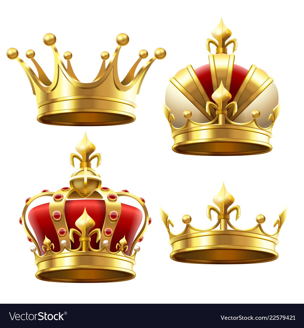 Realistic gold crown crowning headdress for king