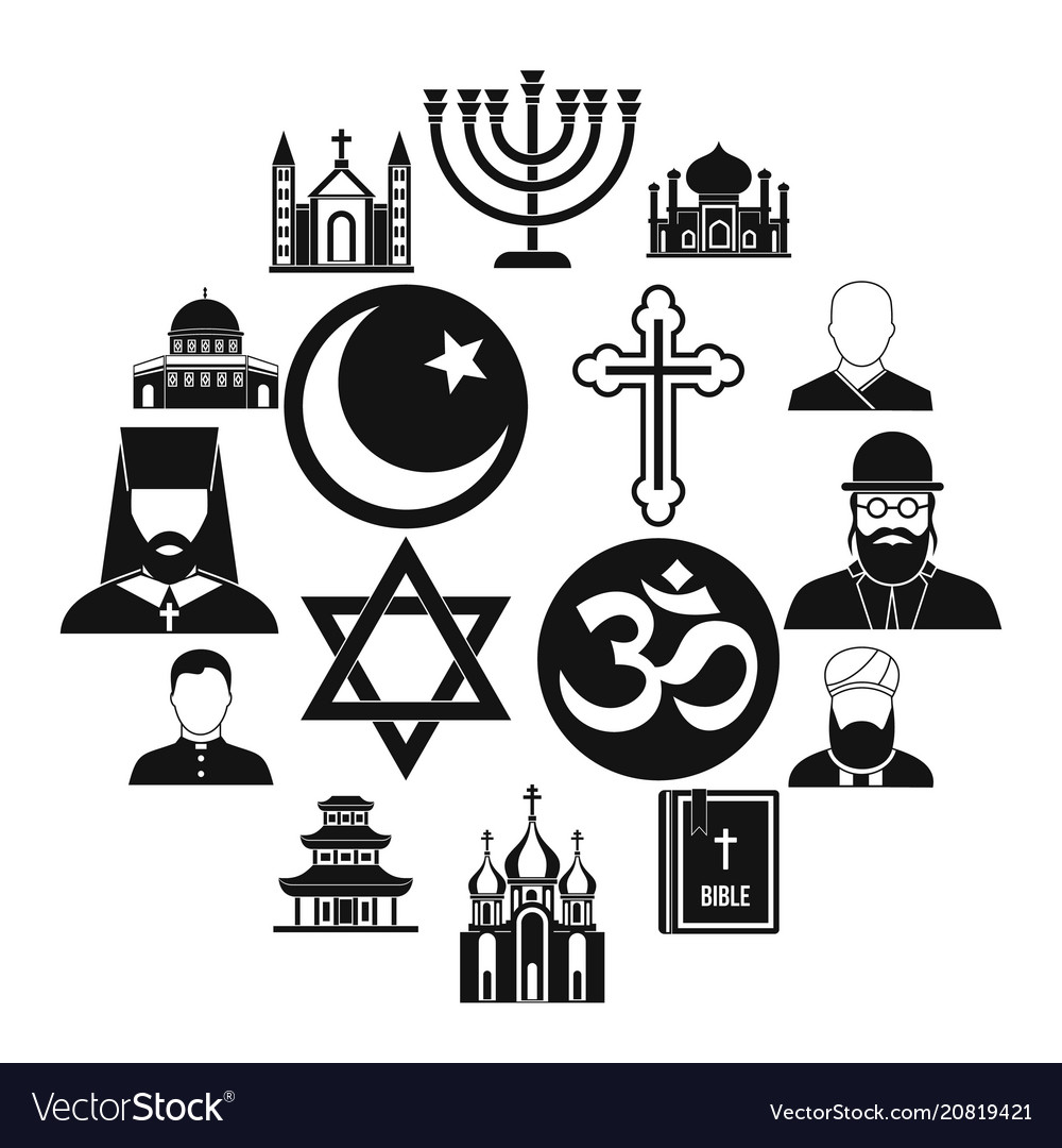 Religious symbol icons set simple style