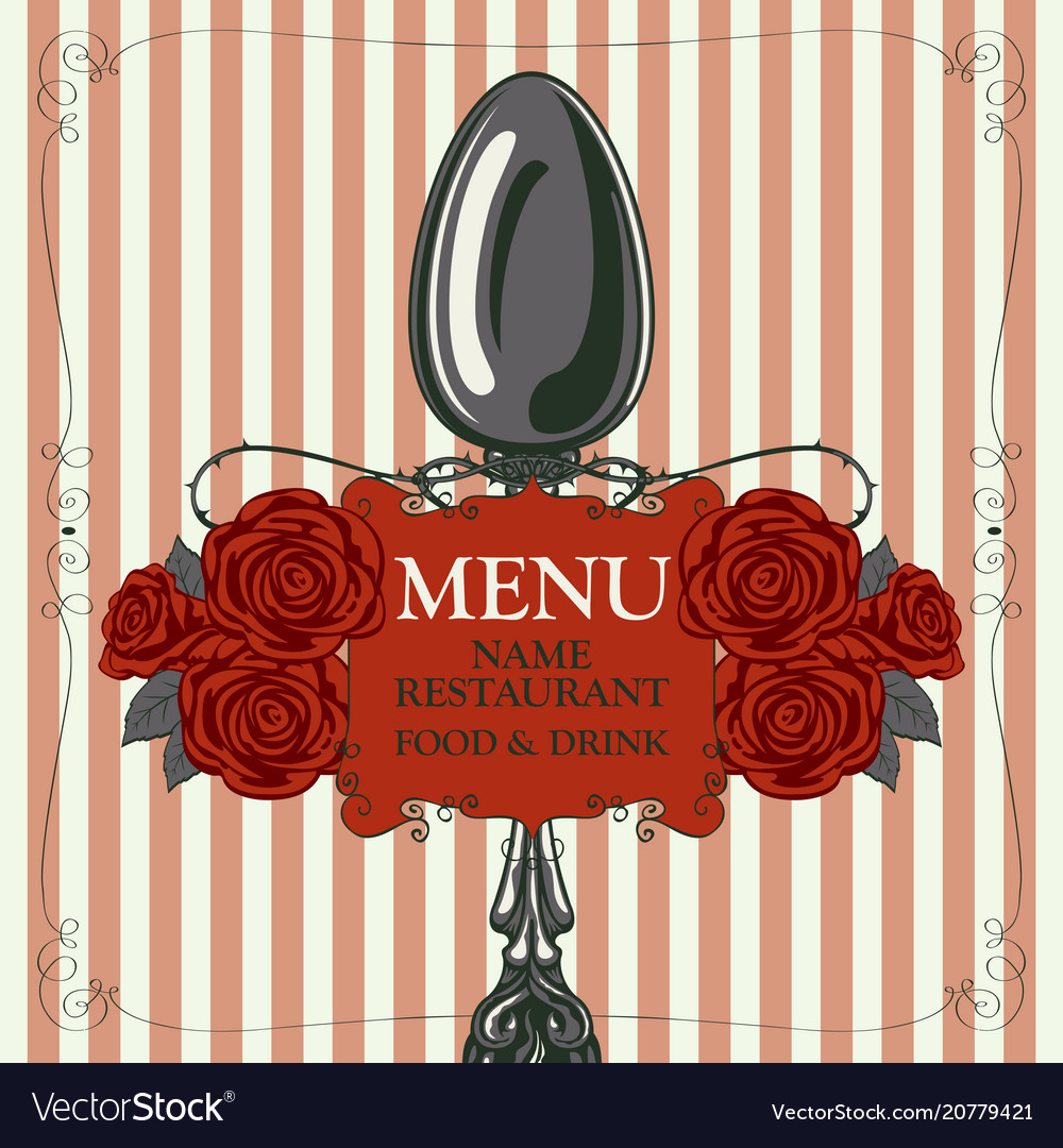 Restaurant menu with spoon and red roses