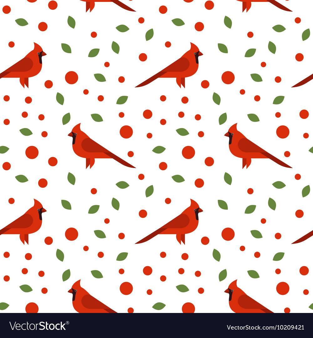 Seamless pattern with beautiful cardinals
