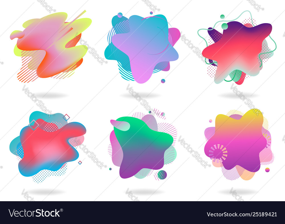 Set abstract flowing liquid elements colorful