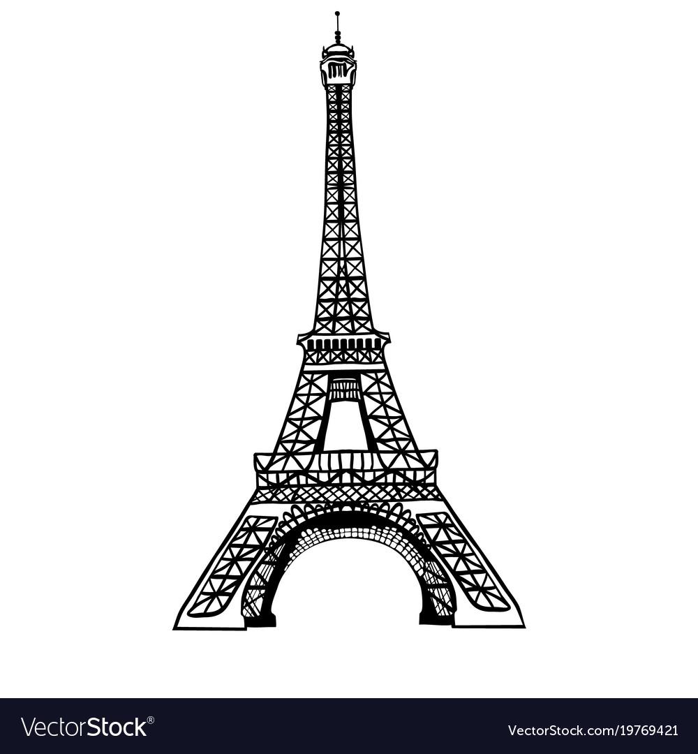 Sketch black eifel tower hand drawn