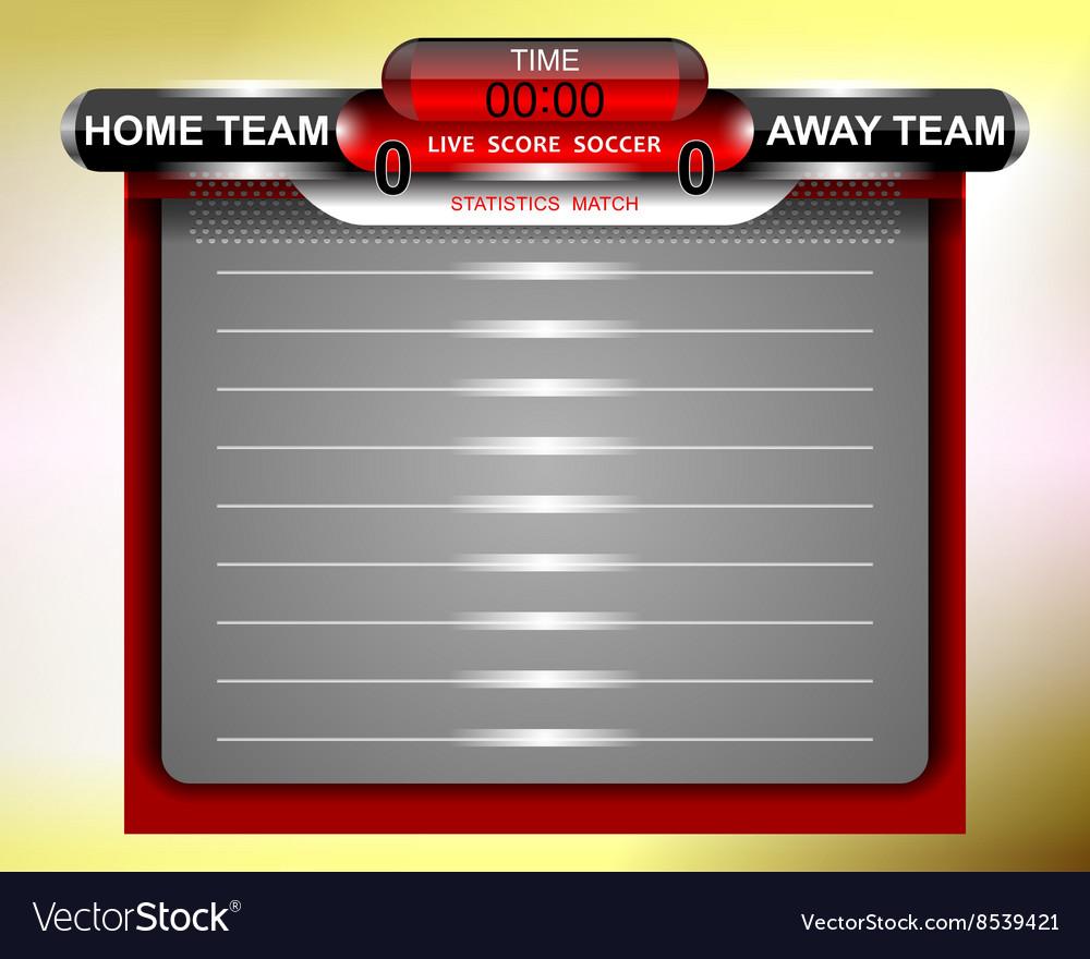 Soccer Red Scoreboard Statistics Match