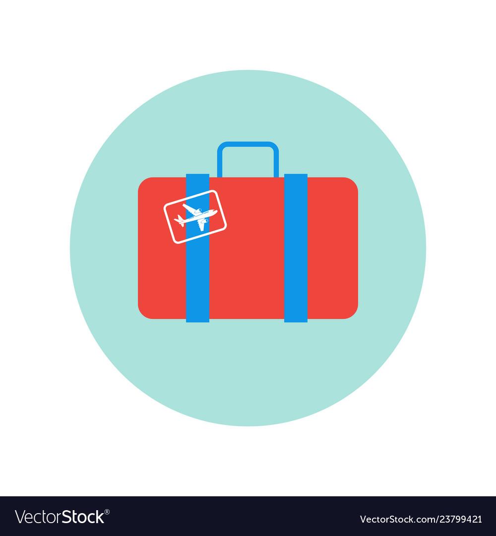 Suitcase retro with plane sticker icon isolated
