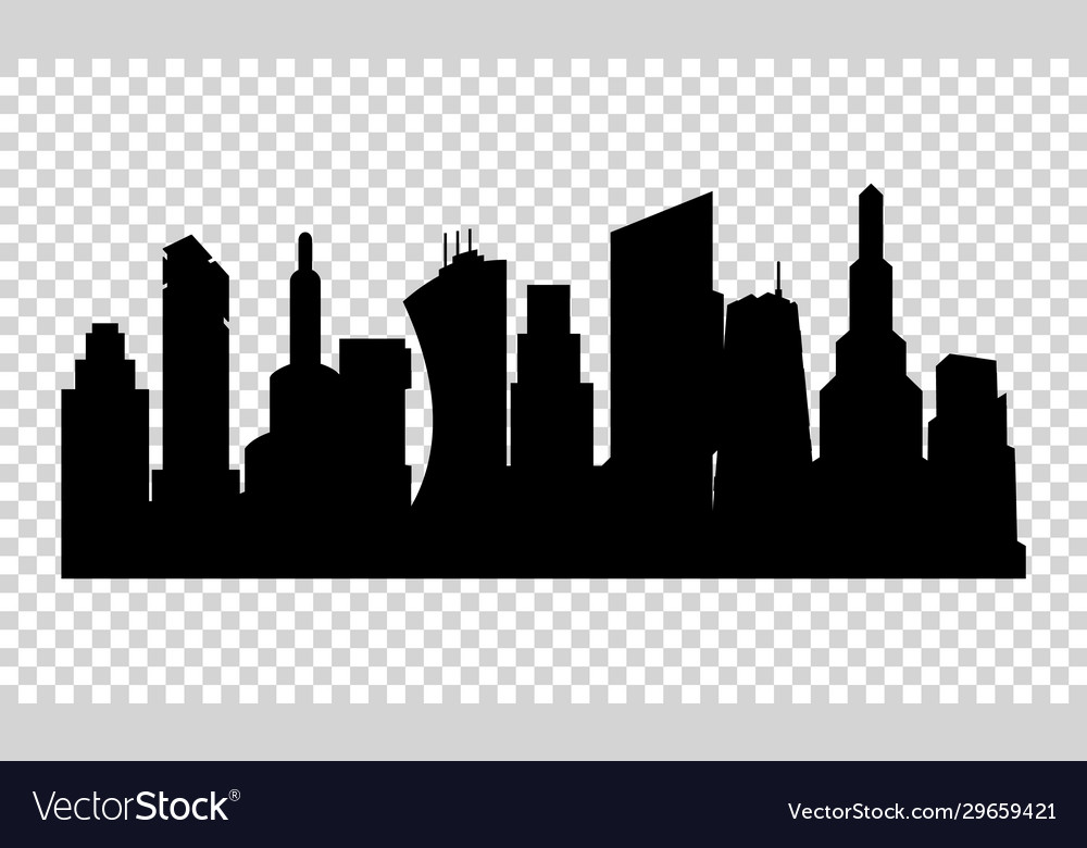 The silhouette city in a flat style on