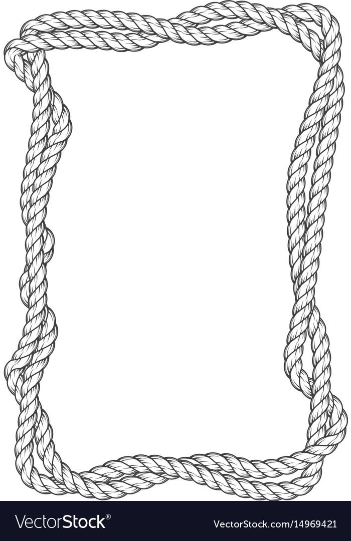 Twisted rope frame - two interlaced ropes square