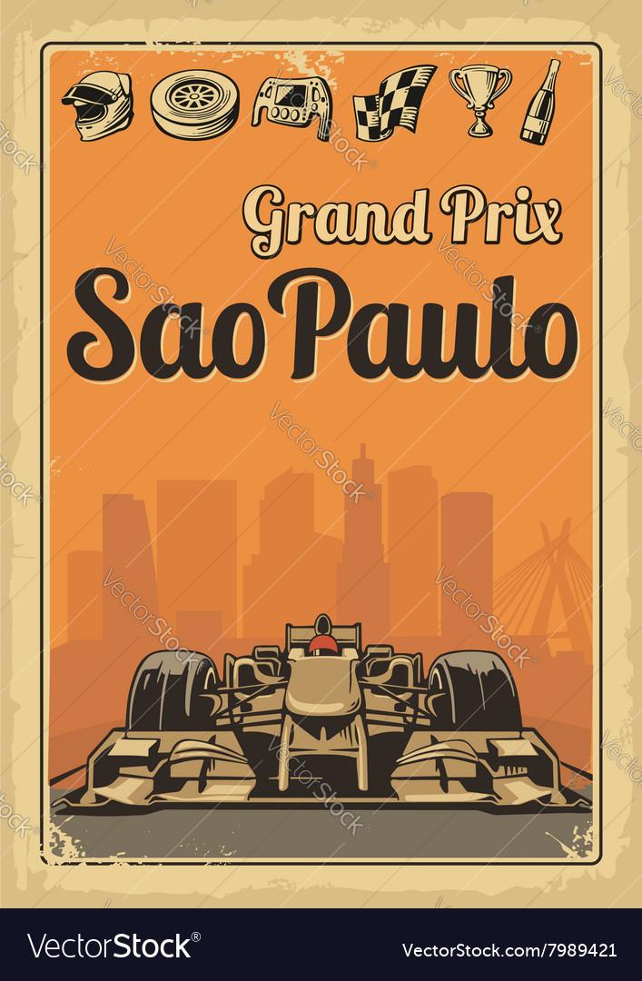 Vintage poster Grand Prix Sao Paulo