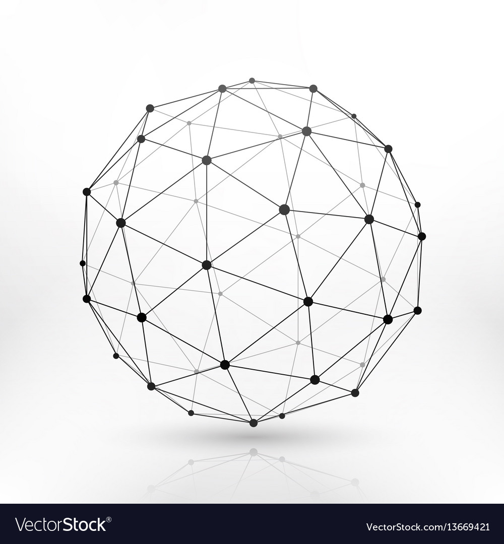 Wireframe globe sphere connectivity network tech