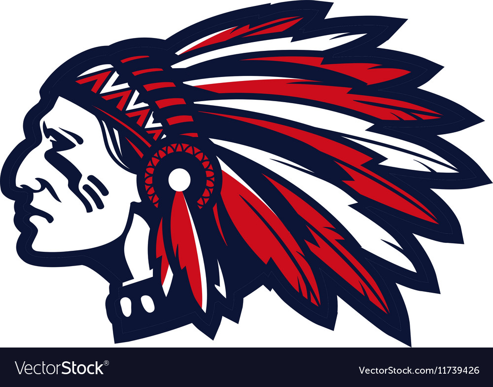 american indian chief logo or icon royalty free vector image rh vectorstock com Indian Warrior Logo Indian Chief Clip Art