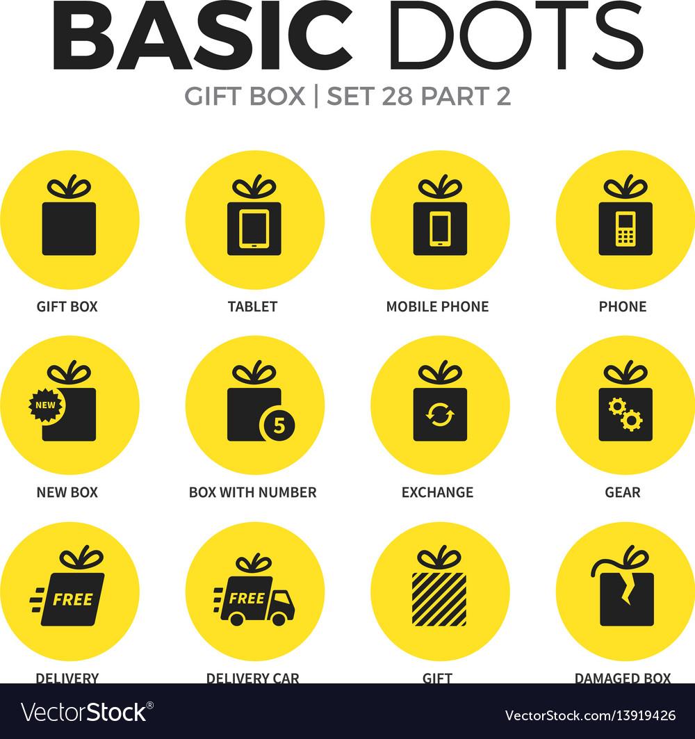 Gift box flat icons set