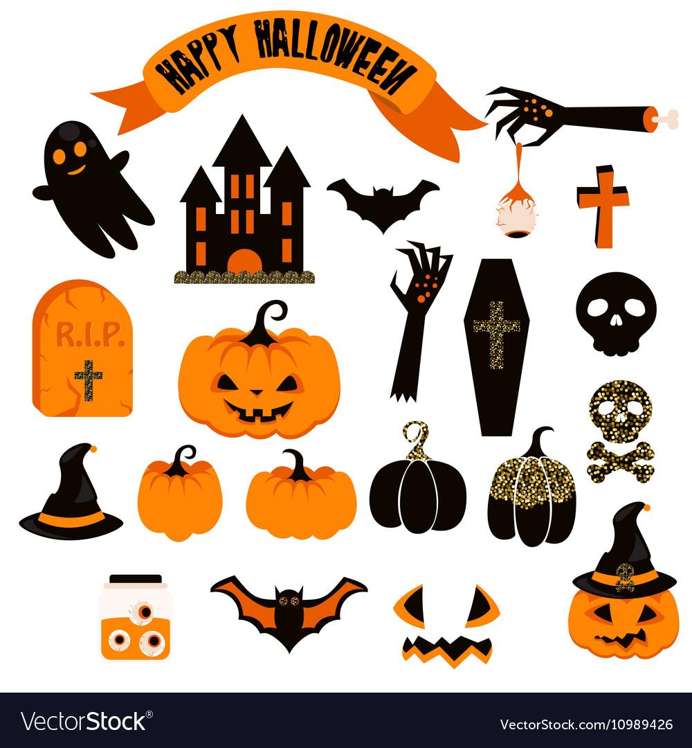 Halloween Scary Clipart.Halloween Clipart Set Spooky Pumpkin Icons Vector Image