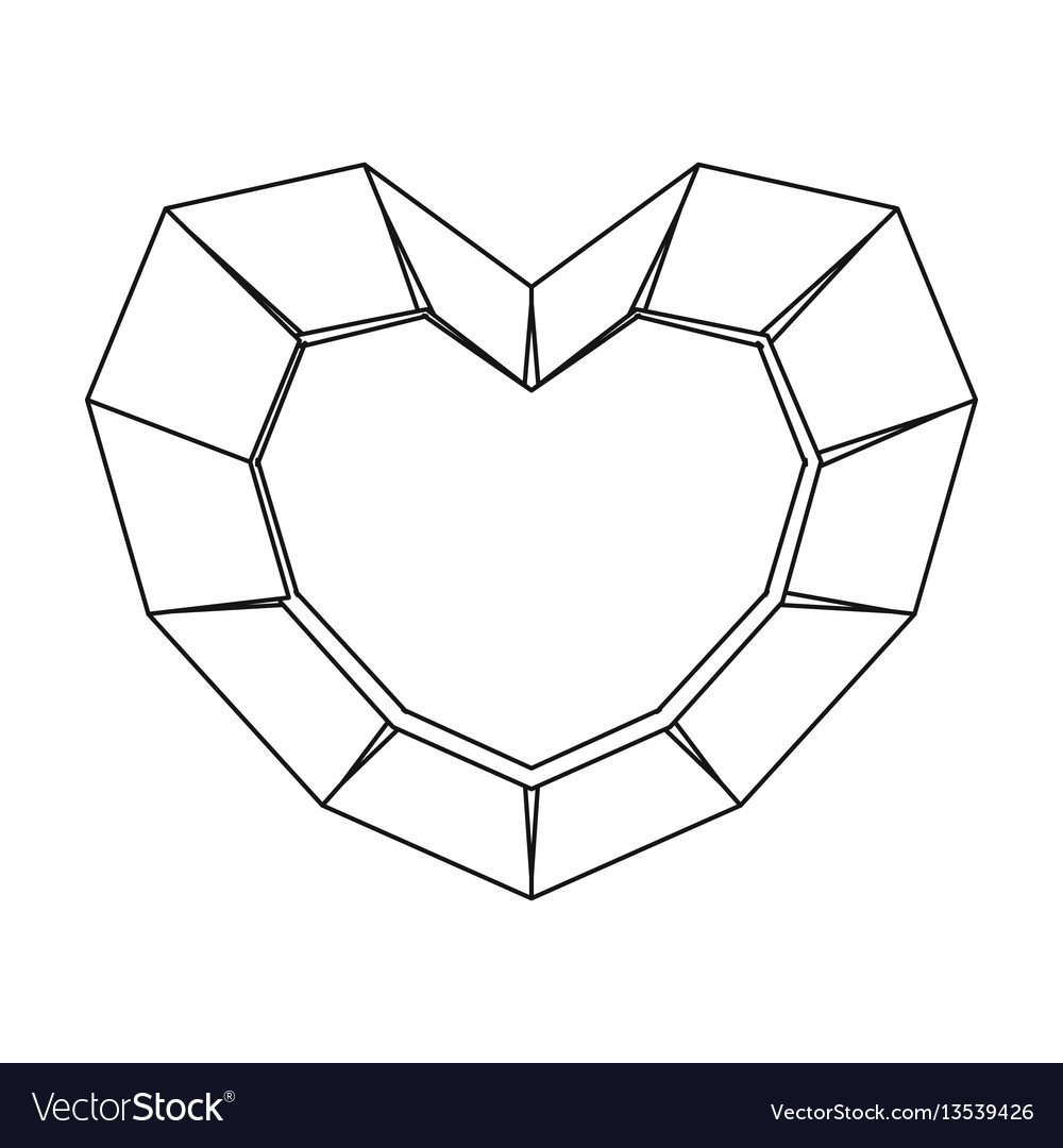 Heart-shaped gemstone icon in outline style vector image