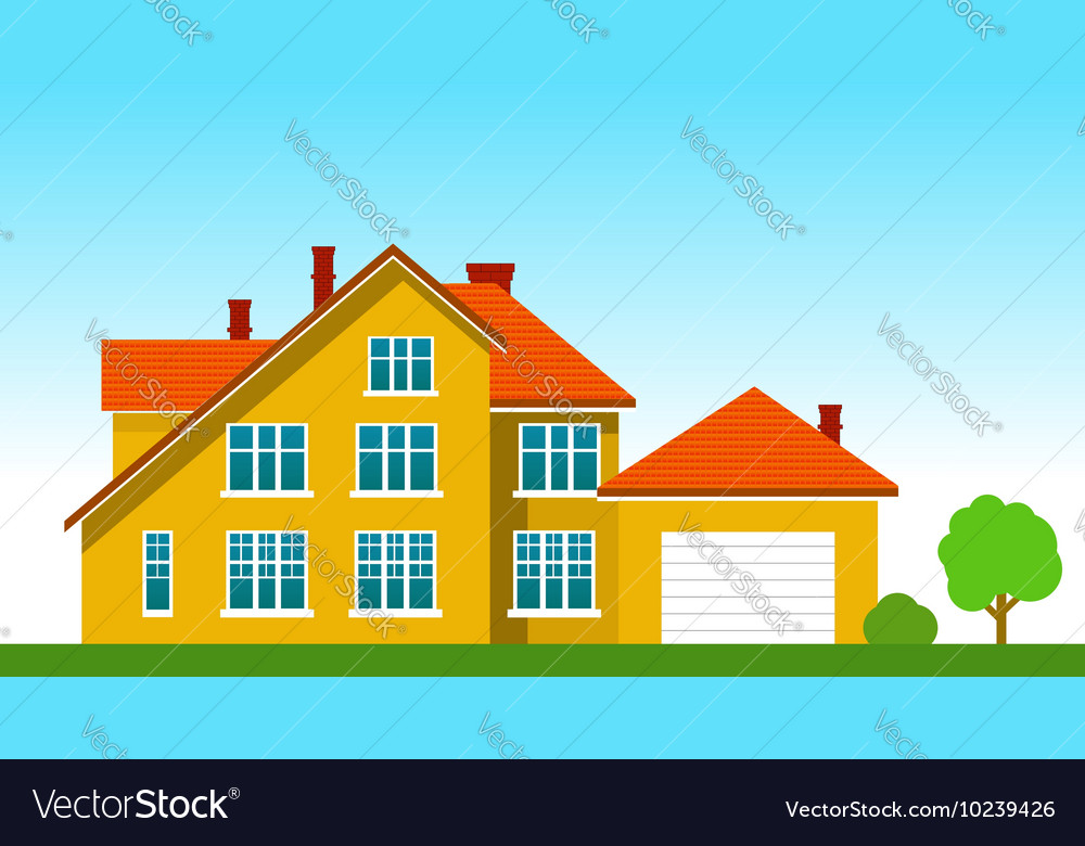 House with a garage on grass