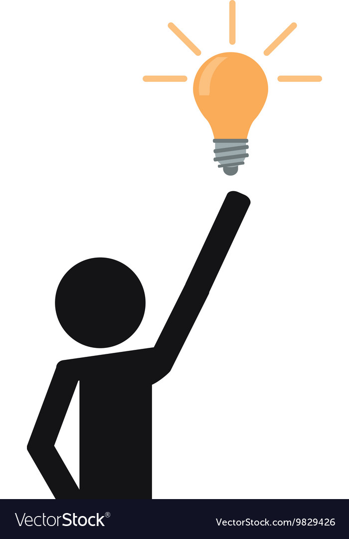 Person pictogram with lightbulb icon vector image