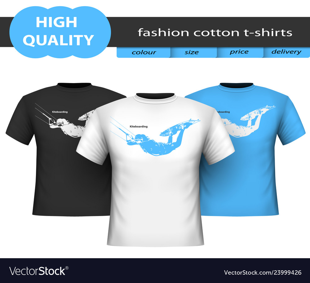 Trendy realistic cotton t-shirts isolated on