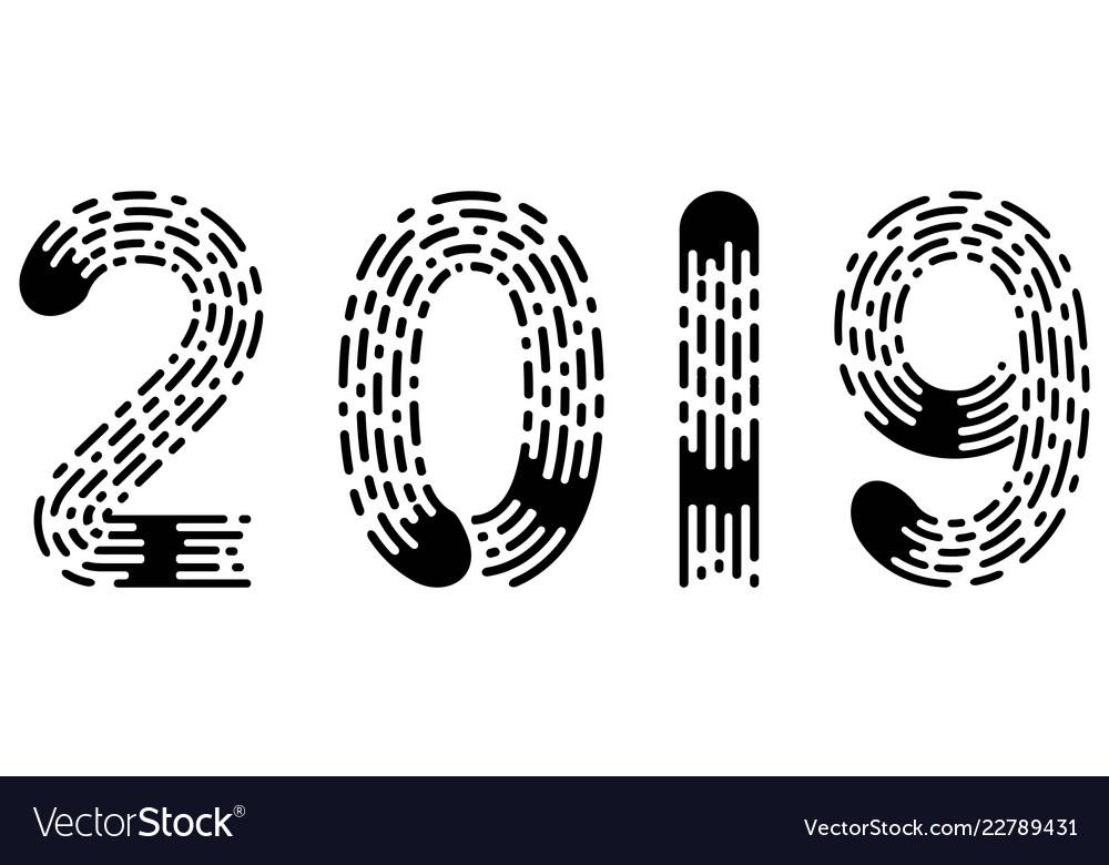 2019 lettering figure year fingerprint style font