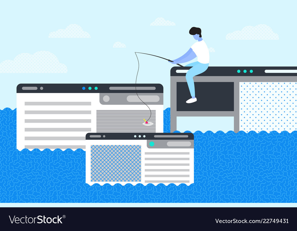 A man trying to catch webpage on the hook