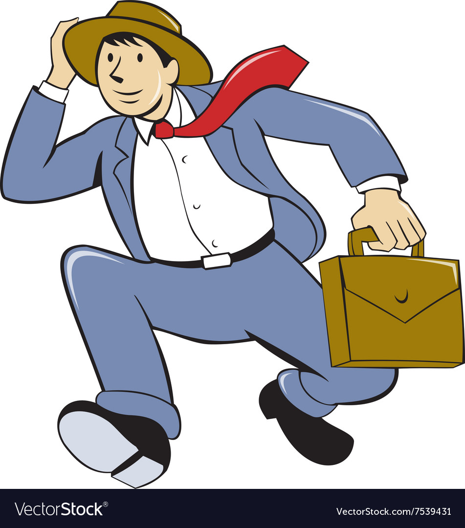 Businessman With Briefcase Running Cartoon vector image