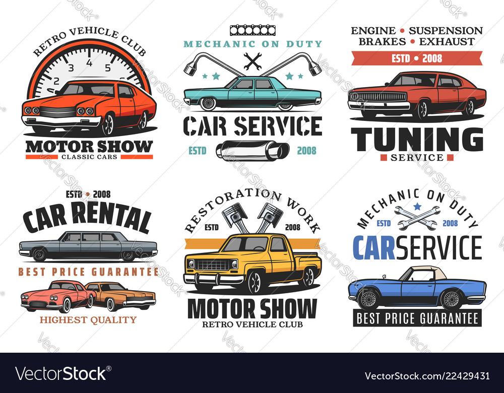 Car tuning restoration and repair service icons