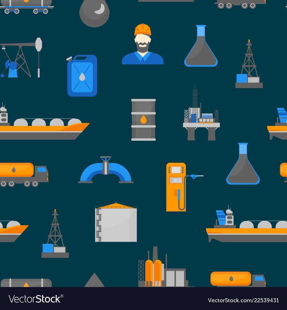 Cartoon oil petroleum processing seamless pattern