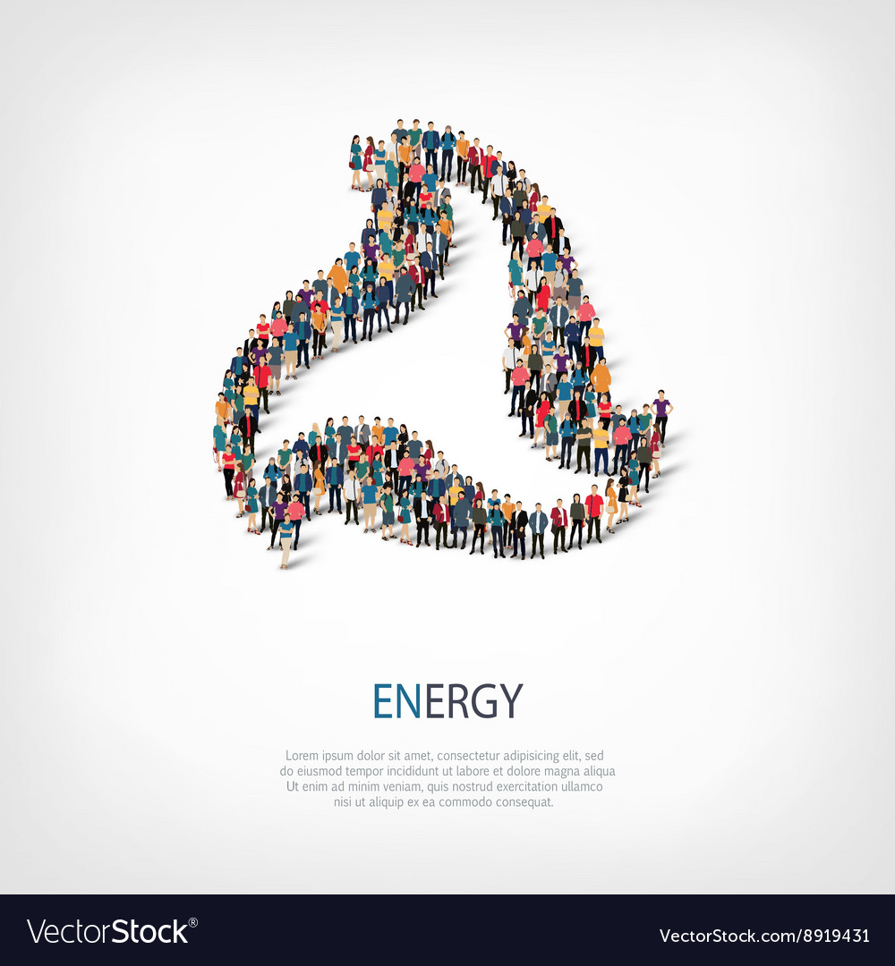 Energy people sign 3d