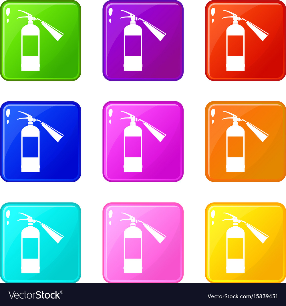 Fire extinguisher icons 9 set
