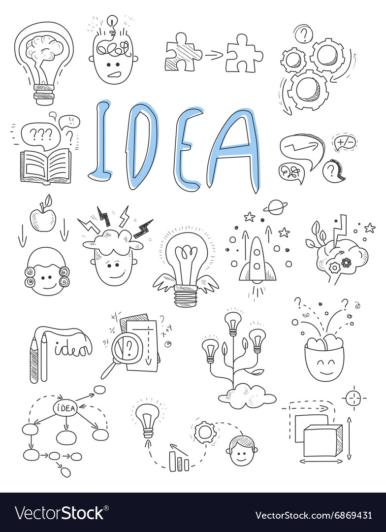 Idea brainstorming icons in Doodle style vector image
