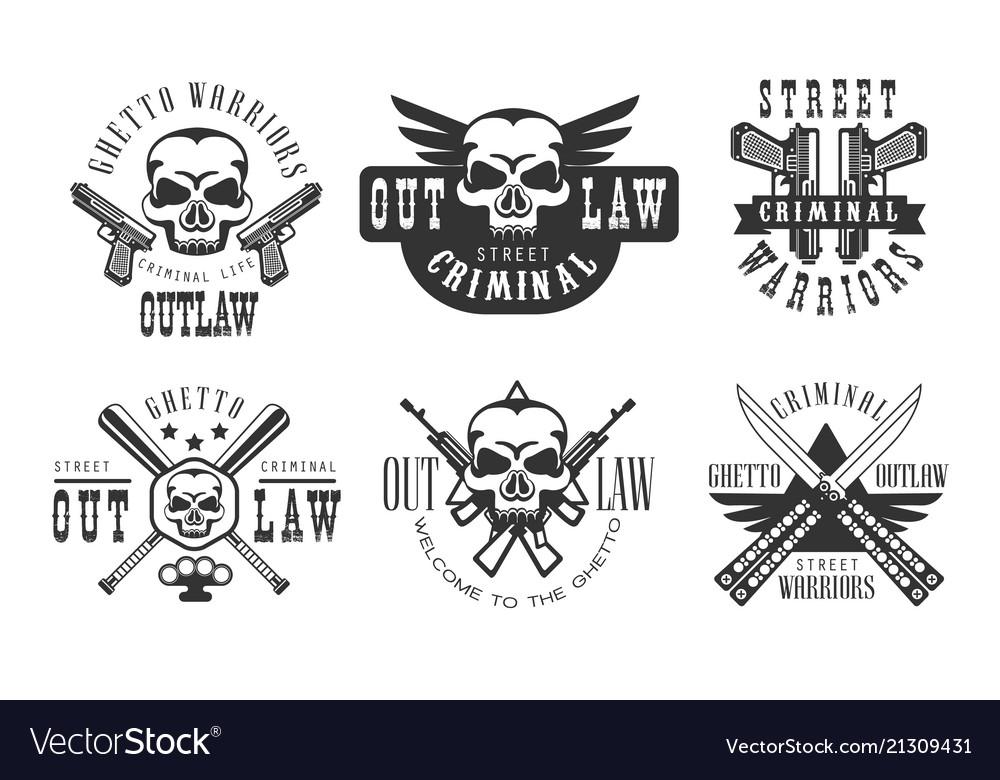 Set of original emblems related to criminal