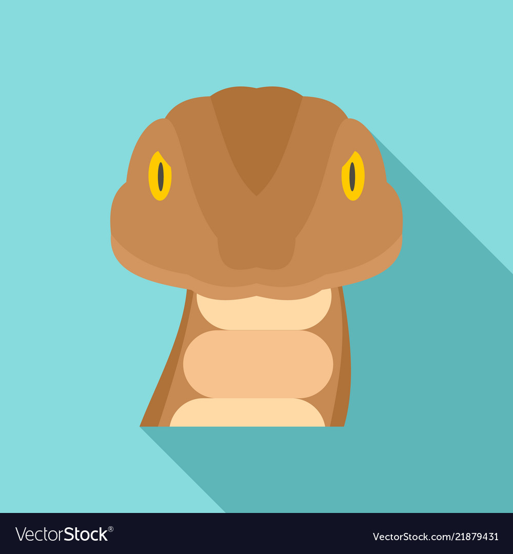 Snake head icon flat style