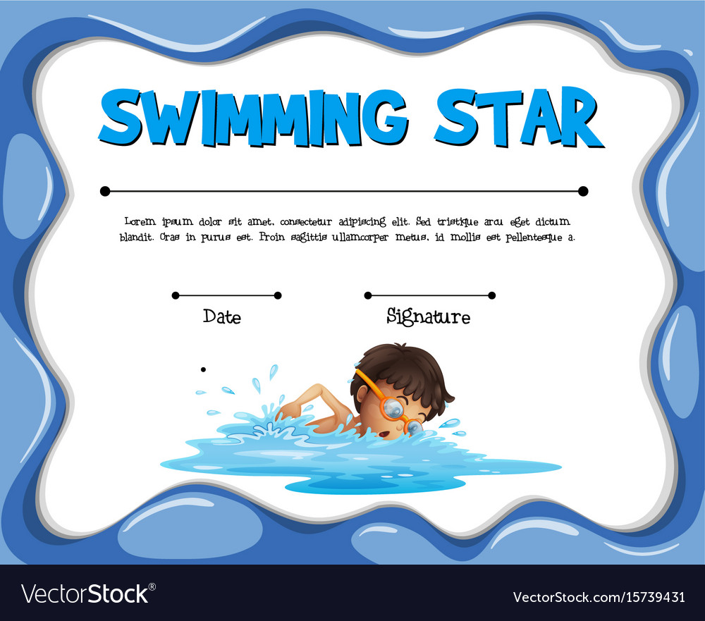 Swimming Star Certification Template With Swimmer Vector Image