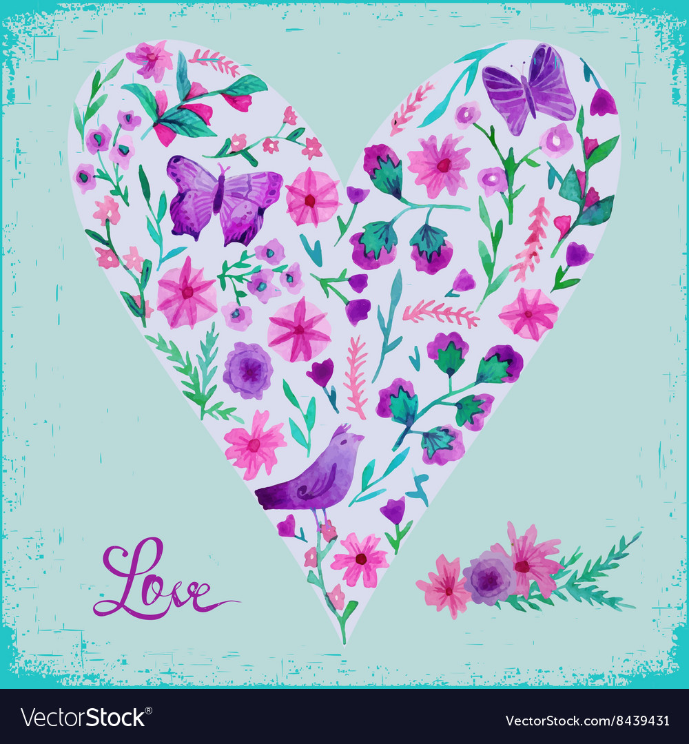 Watercolor floral heart and