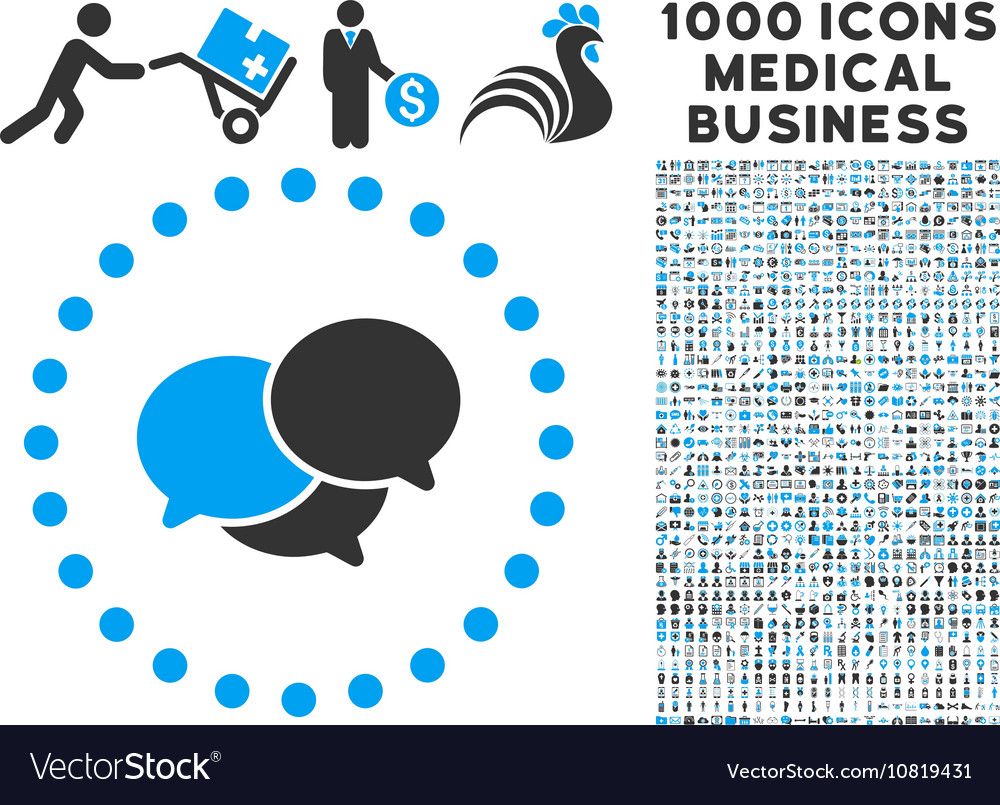Webinar icon with 1000 medical business symbols