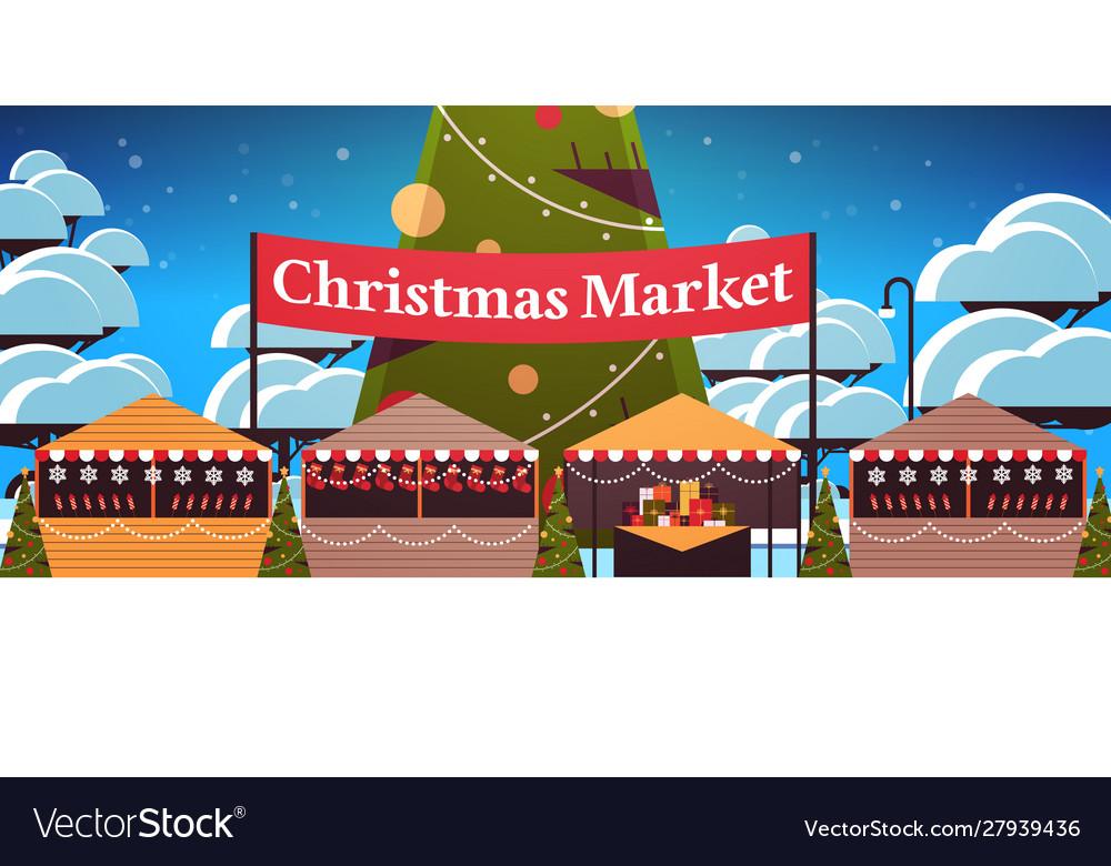 Christmas market or holiday outdoor fair