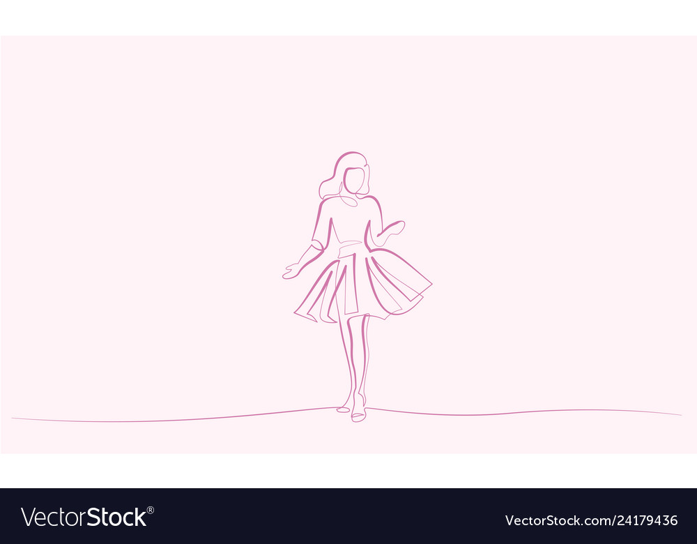 Continuous one line drawing girl in festive dress