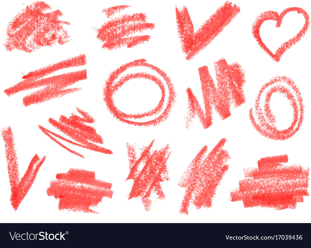 crayon dry brush lipstick rough strokes doodles vector image