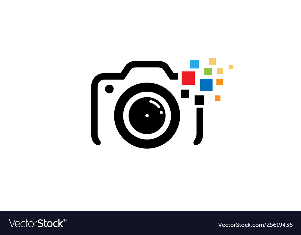 Creative black camera colorful pixel logo design