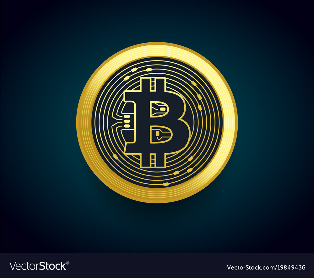 Crypto currency golden coin of bitcoin