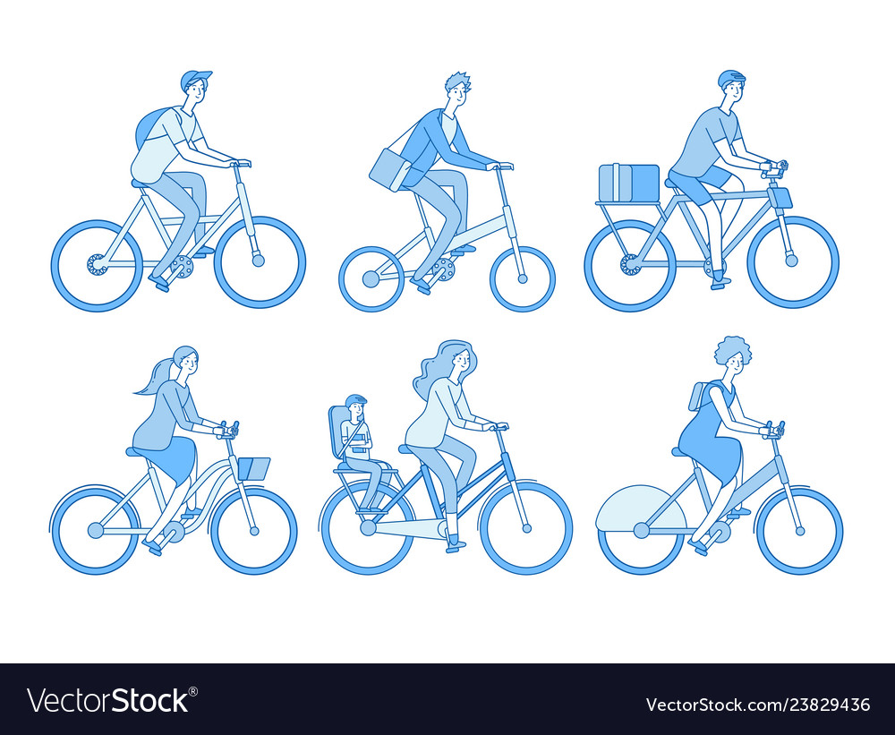 Cyclist set active people riding bicycle adult
