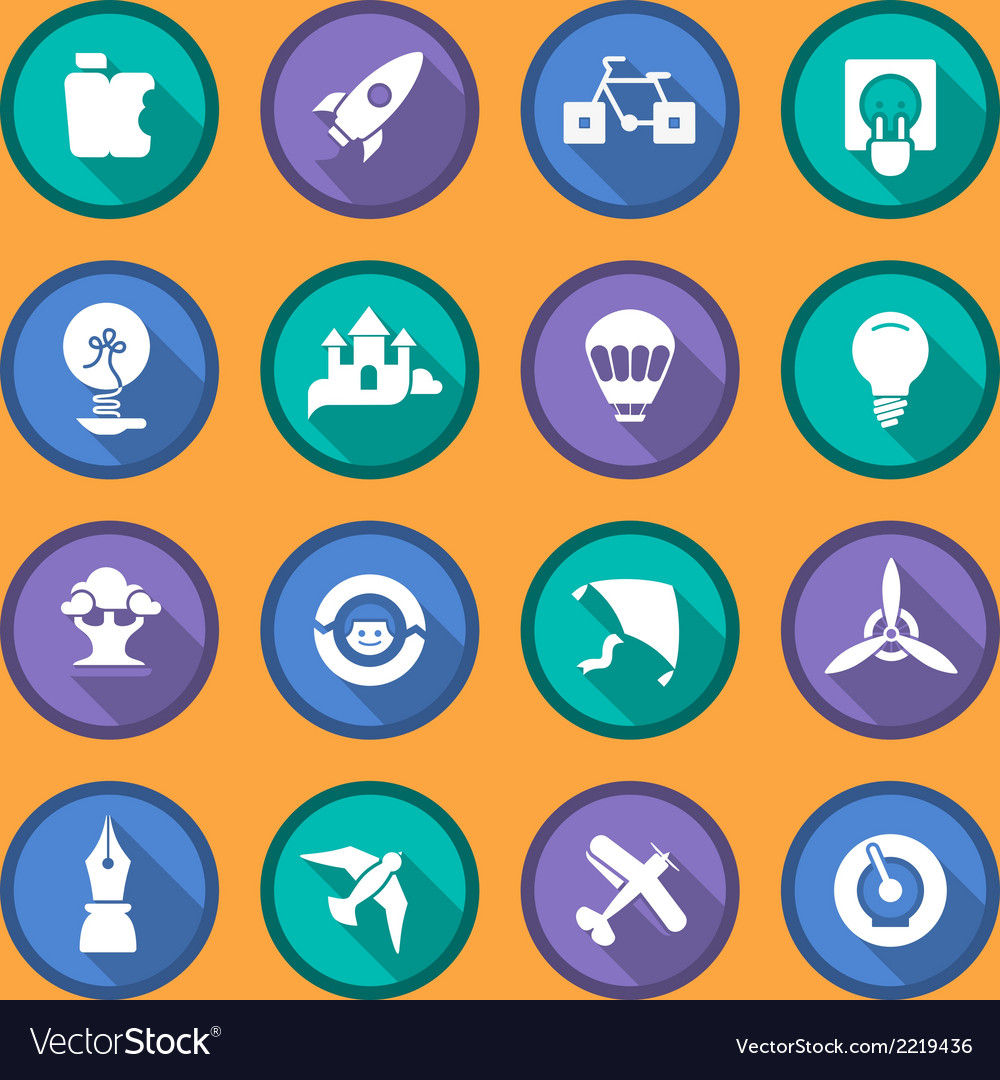 Flat icons of creativity and imagination