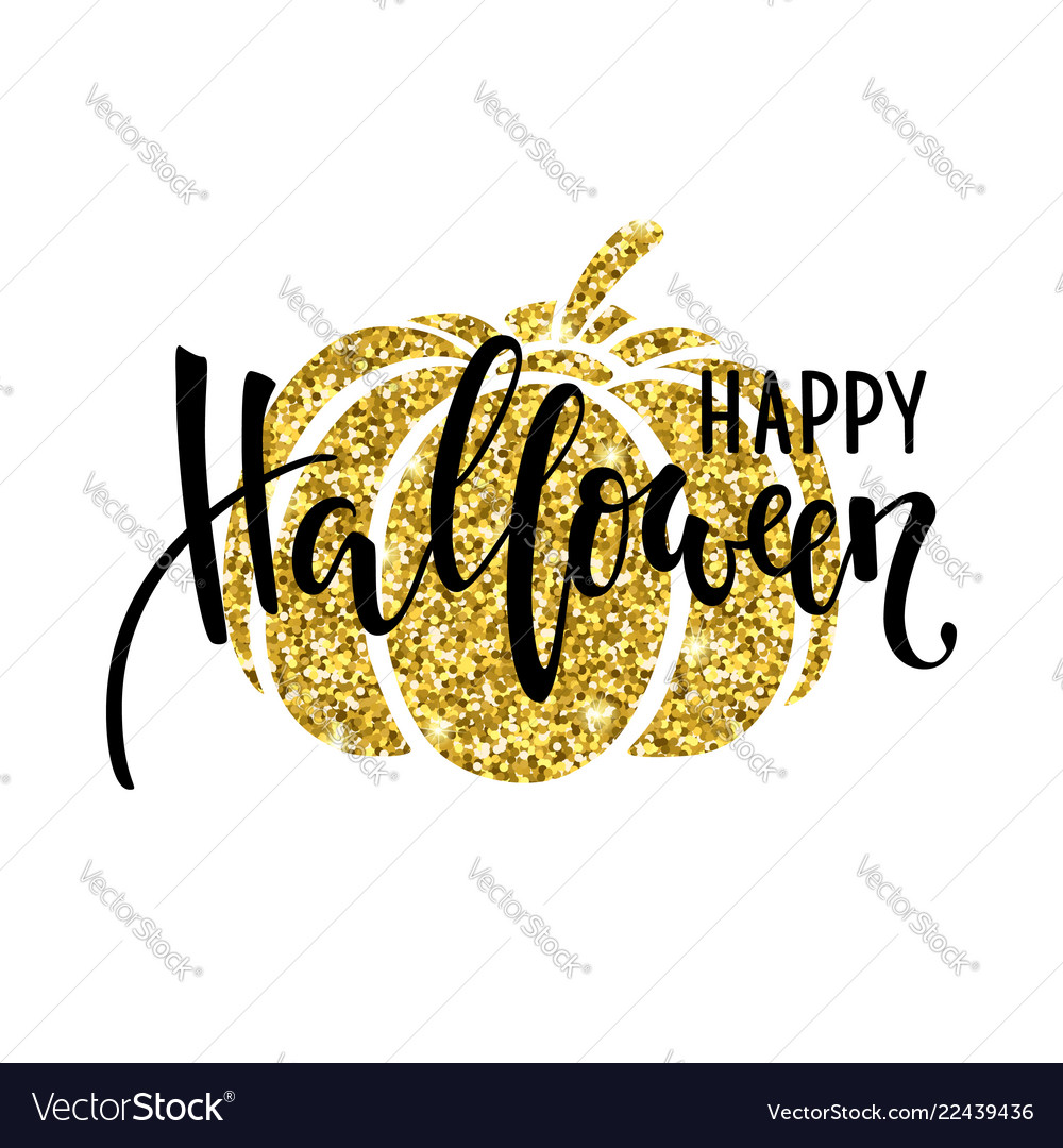 Happy halloween with gold pumpkin silhouette hand