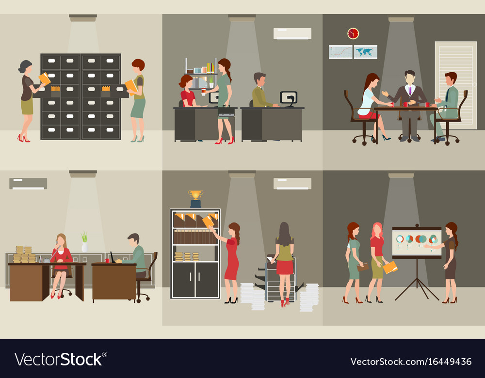 Interior office building vector image
