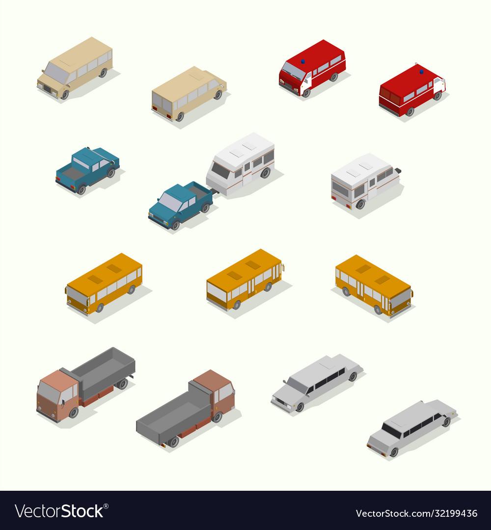 Isometric transport icon set simple flat