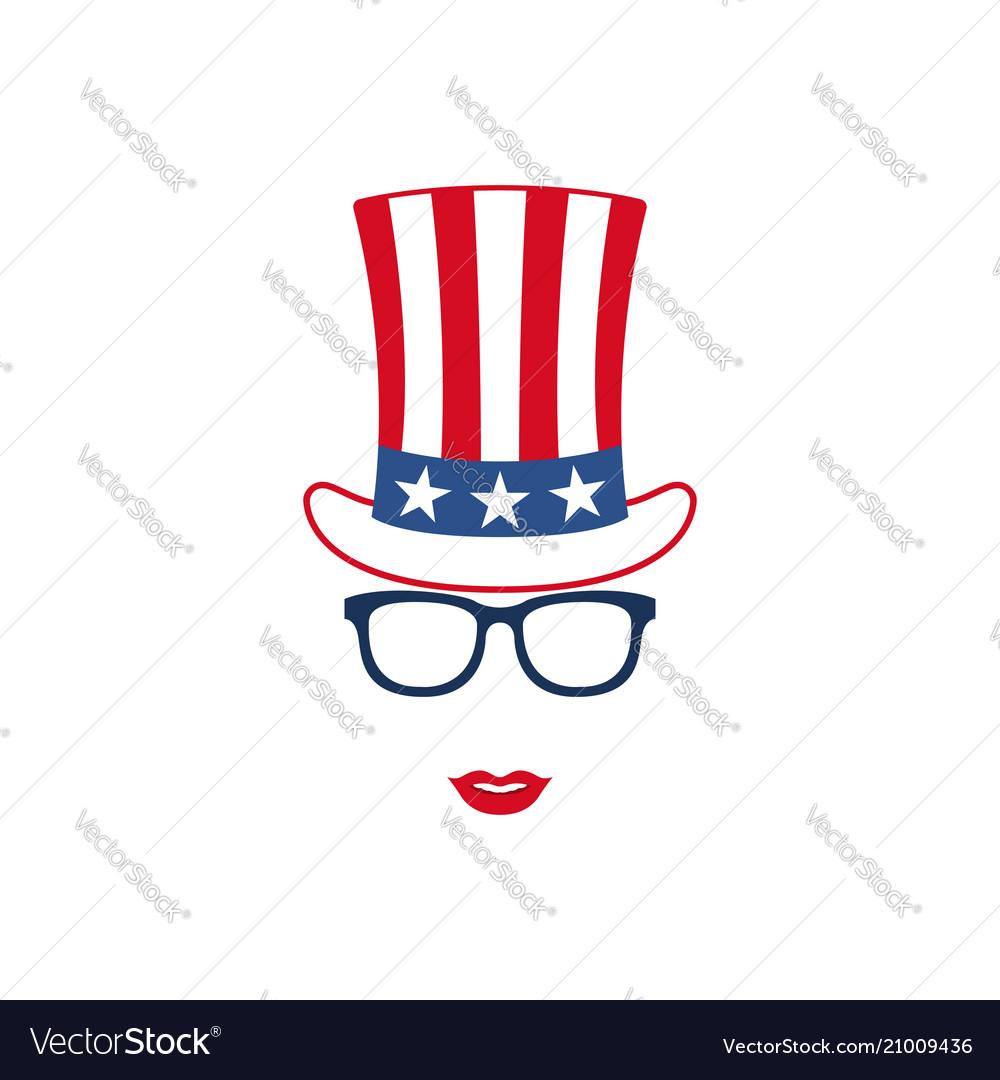 Portrait of patriotic girl in glasses
